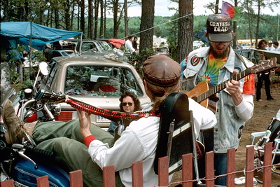 Campground Jam .Guitars out, laying back on a hog in Oxford Maine 1988